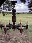 """Antique Well Turned Louis VIII style oak chandelier ~ Large 34"""" W X 31"""" L"""