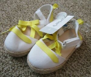 NWT $34 Carters Toddler 4 Girls yellow and White Sandals woven bottom