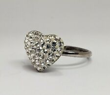 Sterling Silver Heart CZ Cluster Fashion Fancy Ring Size 7.25