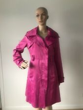 Bebe Shiny Fuchsia Pink Satin Trench Coat Long Jacket with Belt Women's Size M