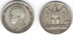 Vittorio Emanuele III° 5 lire 1927.Argento BB - # 213