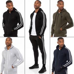 Enzo Mens Zip Up Hoodie Fleece Hoody Top Plain Stripe Casual Hooded Sweat Jacket