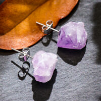 Druse Natural Crystal Quartz  Raw Amethyst Earrings Ear Stud Irregular Stone