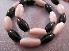 Black Onyx / White Agate Oval Beads 24pcs