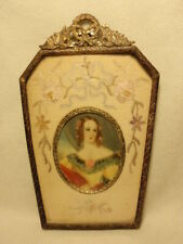 Antique Hand Painted Portrait Lady Brass Czechoslovakia Frame Floral Needlepoint