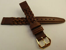 New Kreisler Brown Woven Braided Leather 12mm Watch Band $16.88 Gold Tone Buckle