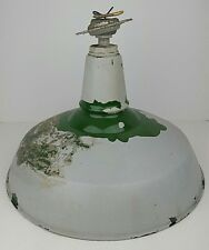 Vtg Green Porcelain Enamel Industrial Metal Light Fixture Painted Untested 16""