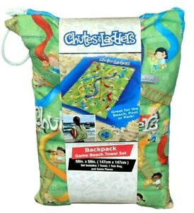 """Chutes And Ladders Backpack Game Beach Towel Set 58""""x58"""" Tote Bag & Game Pieces"""
