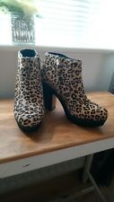 Womens River Island Leopard Print Platform Ankle Boots Size 6