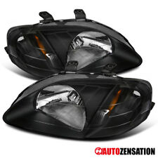 Fit 99-00 Honda Civic EK9 JDM Black Headlights Left + RIght