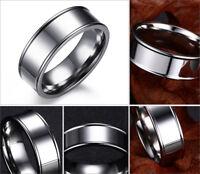 Fashion Titanium Stainless Steel Silver Band Ring Wedding Engagement Men Women
