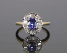 KRN 14k ORO AMARILLO 1.25ct CT MORADO OVALADO Tanzanita Redondo Diamante