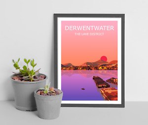 Derwentwater Sunset Art Print, The Lake District National Park Landscape, Hiking