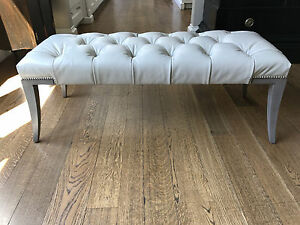 Baker Furniture, Adam Bench, Ottoman in leather by Thomas Pheasant  #6334