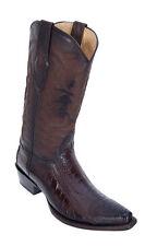 LOS ALTOS BROWN GENUINE SNIP TOE OSTRICH LEG WESTERN COWBOY BOOT (EE)