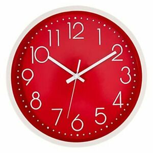 Wall Clock Silent Non Ticking Quartz Round Battery Operated Modern 12 inch Red