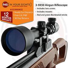 3-9X50 ARMA AD ARIA COMPRESSA CANNOCCHIALE + 11mm SUPPORTI Rosso/Verde reticolo.