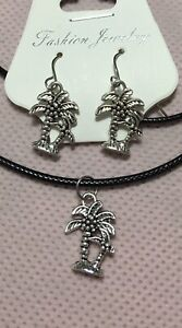 """Silver Palm Tree Necklace Earrings Set, 18"""" Long Leather Cord Hypoallergenic!"""