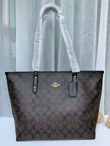 Coach Signature City Zip Tote Shoulder Handbag F58292 - Coffee/Black