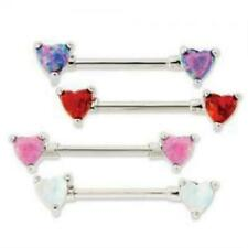Synthetic Opal Heart Nipple Bar