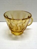 Vintage Gold Cut Glass Cup 6 Ounces with Round Handle Star Cut On Bottom Footed