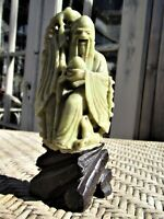 Antique Chinese Soapstone Carving Man Star God Immortal Shou Figurine / Statue