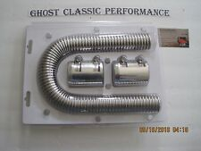 "24"" Chrome Stainless Steel Flexible Radiator Hose Kit W/ Polished Aluminum Caps"