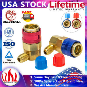 Quick Connector Adapter Fittings Coupler Kit R134A A/C  Hi/Low AC Manifold Gauge