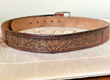 Vintage Wrangler Belt Leather Brown Tooled Wheat Size 30 Made in USA