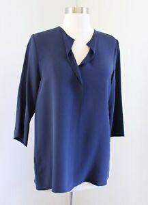 Peter Cohen Navy Blue Silk Split Neck 3/4 Sleeve Top Blouse Size S Lagenlook