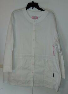 Kathy Peterson Koi Round Neck Nursing medical scrub jacket coat NWOT 3X White