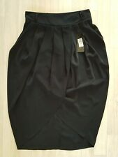 RIVER ISLAND size 10 black TULIP PENCIL SKIRT party 70s GLAM wrap over style