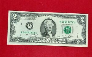 1976 $2 FRN Federal Reserve NOTE Green Seal CH UNC DOUBLE REPEAT SERIAL NUMBER