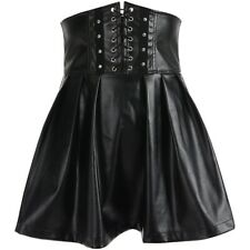 Lady Gothic Steampunk Flared Skirt Corset Faux Leather Retro Punk Club Faddish