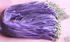 10 Lot/Bulk Organza Ribbon Necklace Cords PURPLE Alloy Clasp 45cm + 5cm