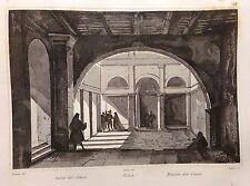 AUDOT INCISIONE IN ACCIAIO 1857 ROMA INTERNO DELLA CASA DE' CENCI