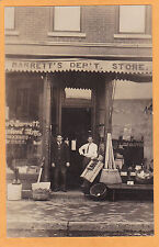 Real Photo Advertising Postcard RPPC -Two Men Outside Barrett's Department Store
