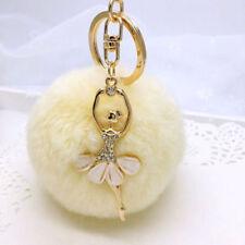 Dancing Rex Rabbit Rhinestone Ballet Girls Gifts Fur Ball Keychain