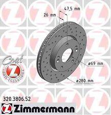 Disque de frein avant ZIMMERMANN PERCE 320.3806.52 HYUNDAI TUCSON JM 2.0 141ch