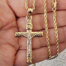 14k yellow gold Jesus crucifix cross pendant charm only