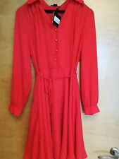 Debenhams red orange rust a line shirt dress knee length size 10 RRP £42 Bnwt