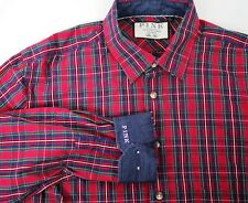 Thomas Pink Men's Red Plaid Button Up Flip Cuff Casual Shirt Size M Slim Fit