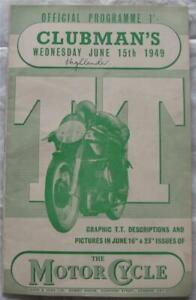 ISLE OF MAN TT 15 Jun 1949 Clubman's Race Official Programme