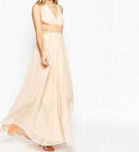 Branded WEDDING Hollywood Contrast Maxi Dress in Soft Pink UK 6/EU 34/US 2