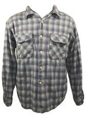 PENDLETON Flannel Shadow Plaid Shirt Board Wool Men XL Loop Collar Flap Pocket