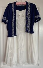Alannah Hill White Boho Dress 14 And Navy Short Sleeve Cardi 16