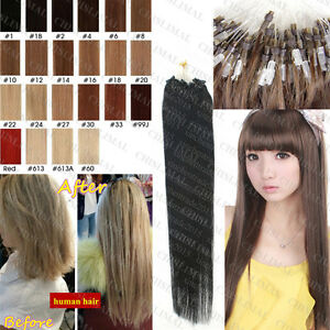 8A Remy Human Hair Extensions 50/100S 100% Loop Micro Ring Silicone Beads Hair