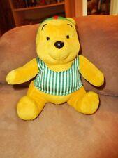 "Pooh McDonalds Toy Disney Bear Stuffed Plush 7"" Green Stripe Swim shirt cap 1999"
