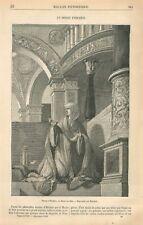 Femme Prie-Dieu Dessin d'Olbein Kunstmuseum Musée de Bâle Suisse GRAVURE 1869