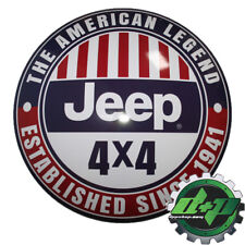 """15"""" Domed Tin Metal Sign Jeep 4 x 4 est. 1941 red white blue shop home mudder"""